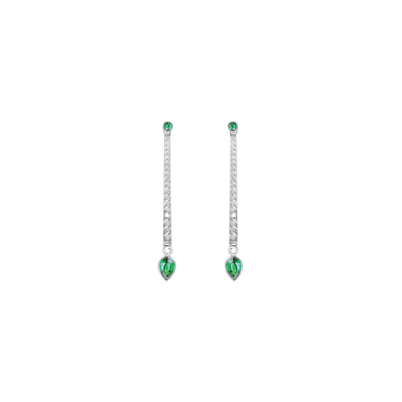 En Pointe Earrings in White Gold with White Diamonds and Emeralds EPE5.04.14 Sybarite Jewellery - image 0