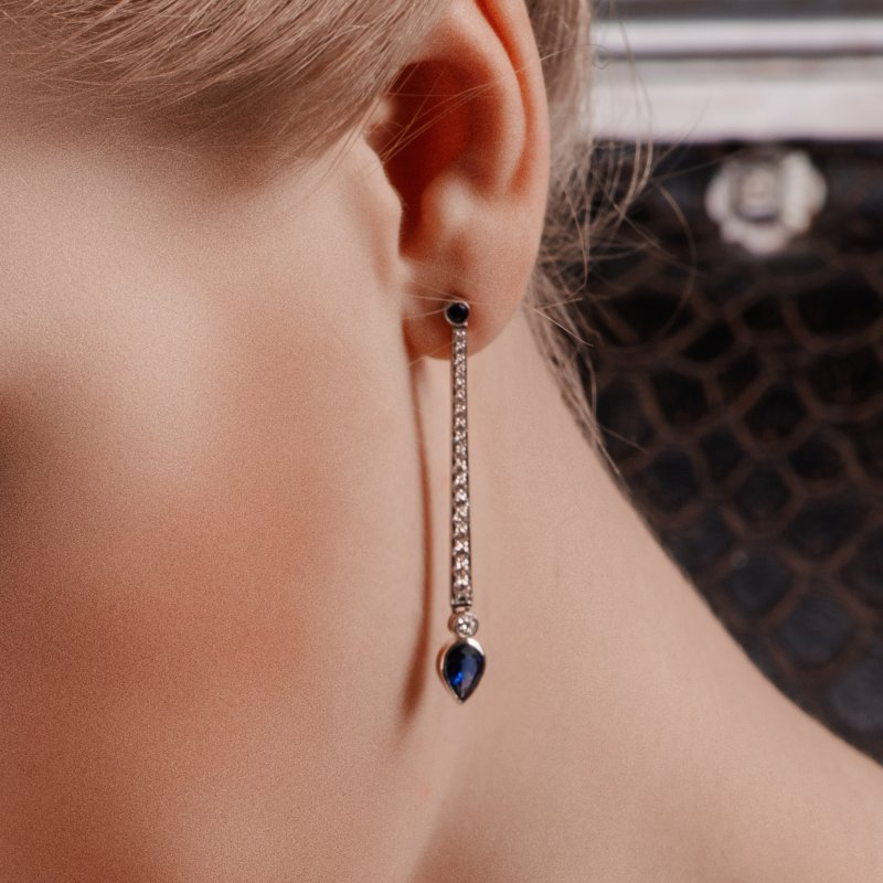 En Pointe Earrings in White Gold with White Diamonds and Sapphires EPE5.04.11 Sybarite Jewellery - image 1
