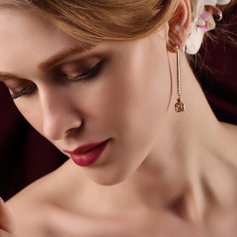 Royal Jubilee Earrings in Yellow Gold with White Diamonds  CE1.24  Sybarite Jewellery - image 1