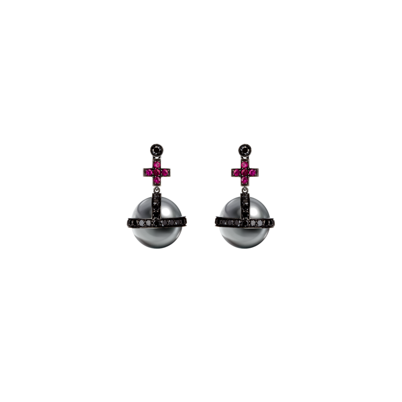 Sceptre Earrings in Blackened Gold with Black Diamonds, Rubies & South Sea Pearls  SSE3.1523.15  Sybarite Jewellery - image 0