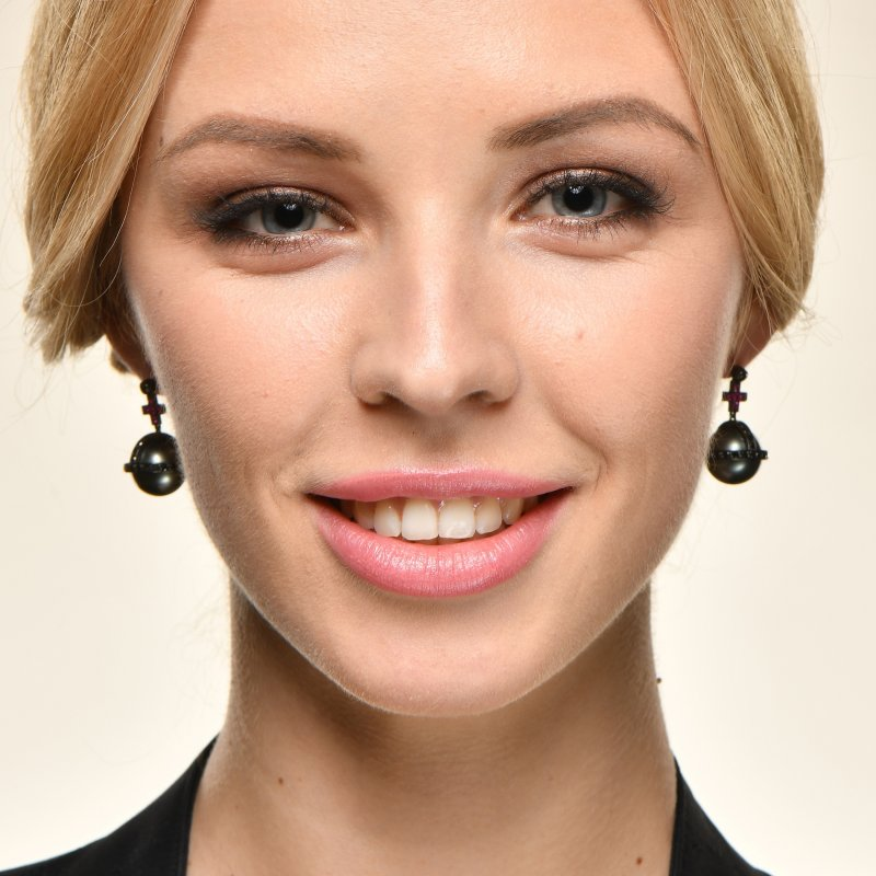 Sceptre Earrings in Blackened Gold with Black Diamonds, Rubies & South Sea Pearls  SSE3.1523.15  Sybarite Jewellery - image 2