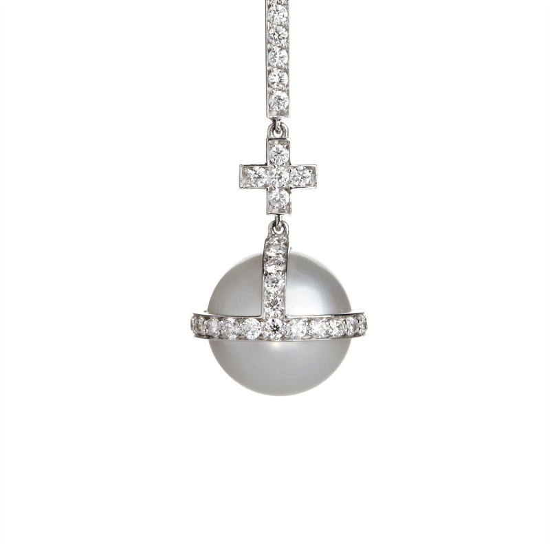 Sceptre Drop Cross Earrings in White Gold with White Diamonds & South Sea Pearls  SLE3.04.22  Sybarite Jewellery - image 1