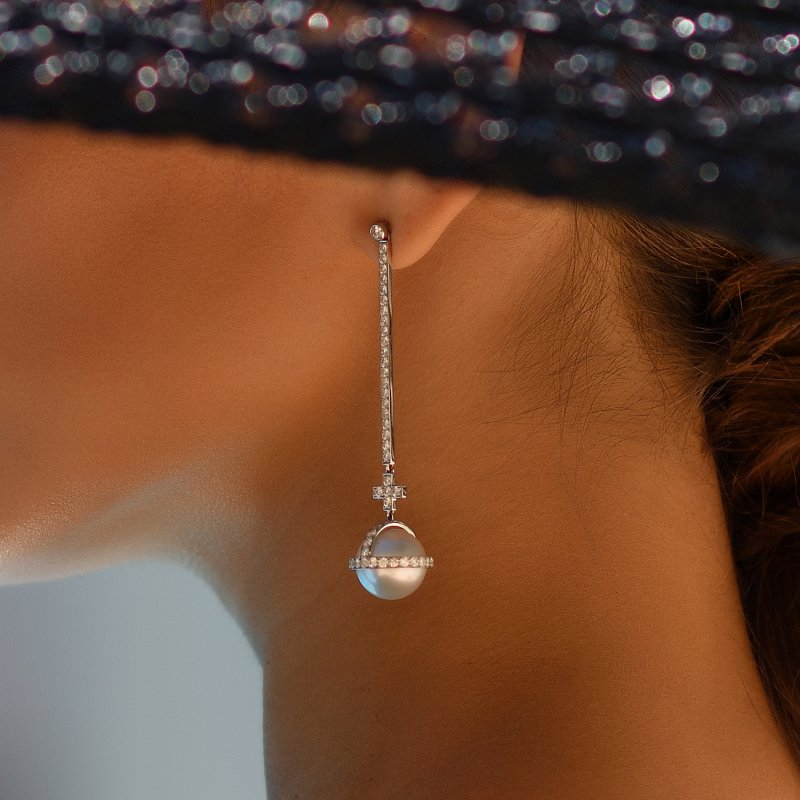 Sceptre Drop Cross Earrings in White Gold with White Diamonds & South Sea Pearls  SLE3.04.22  Sybarite Jewellery - image 2