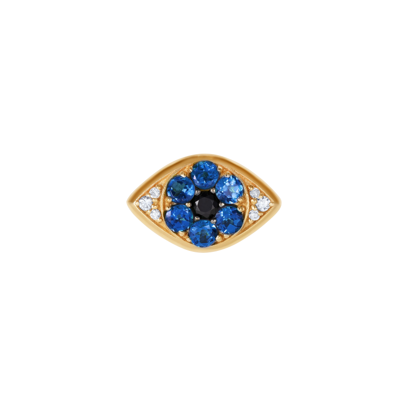 Safety Pin All Seeing Eye Charm in Yellow Gold & Sapphires  SPR9.30.6  Sybarite Jewellery - image 1