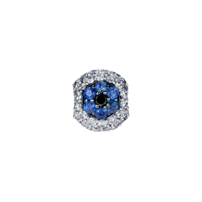 Safety Pin All Seeing Eye Charm in White Gold, Black & White Diamonds, and Sapphires  SPR9.30.8  Sybarite Jewellery - image 0