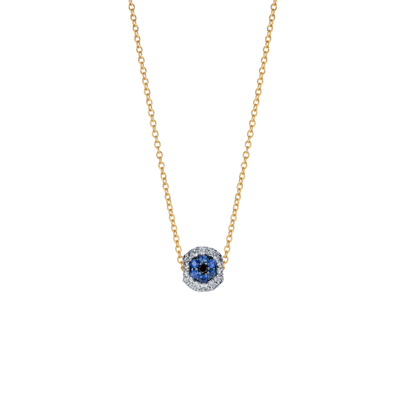 Safety Pin All Seeing Eye Charm in White Gold, Black & White Diamonds, and Sapphires  SPR9.30.8  Sybarite Jewellery - image 1
